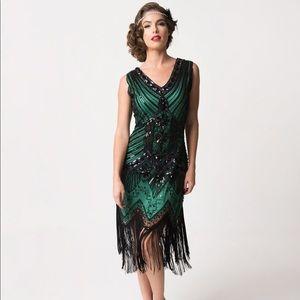Vintage Art Deco gatsby sequin beaded fringe dress